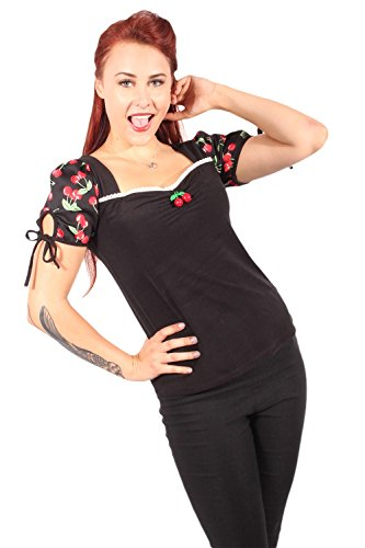 fifties rockabilly Cherry Puffärmel Kirschen Carmen T-Shirt