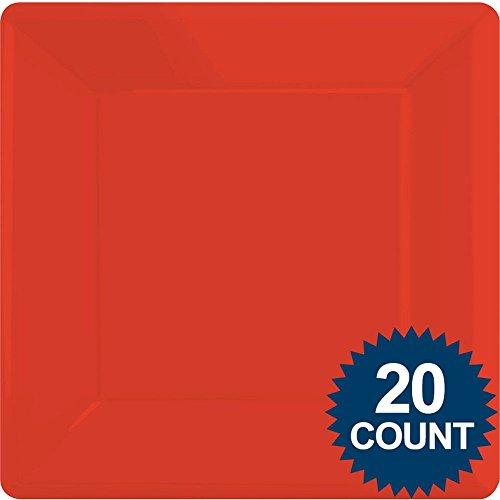 Amscan Rot 25,4cm quadratisch Pappteller, 20CT.