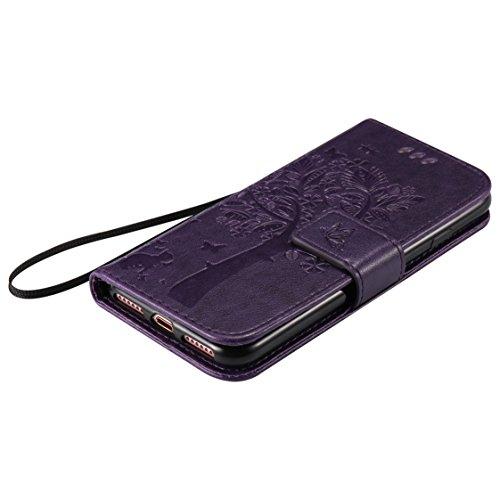 AYASHO® iPhone 7 Hülle - PU Leder Wallet Folio Tasche Handytasche Etui cover Flip Case mit Kartenfach und Ständerfunktion für iPhone 7 (4,7 pouces), Pink Violett