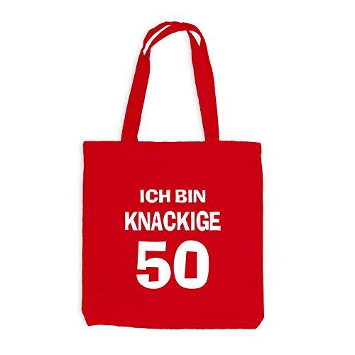 Jutebeutel - Ich bin knackige 50 - Geburtstag Birthday Fünfzig Rot