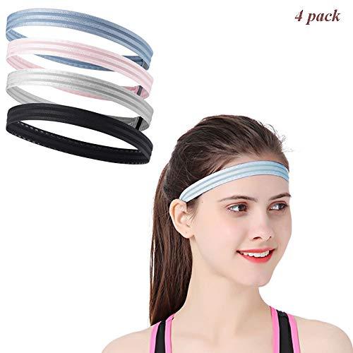 YOJOLO Sport Stirnbänder für Männer & Frauen, Schweißband Silica Gel Anti Rutsch Stirnbänder Reflektierende Elastische Turban Haarband Headwraps 3er Pack -