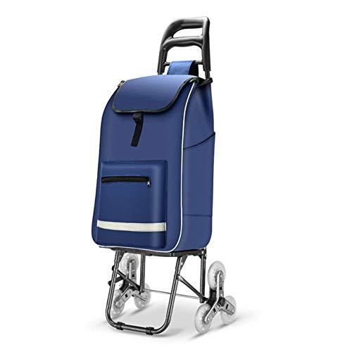 QIANGDA-Handwagen Einkaufstrolley Faltbar Einkaufswagen Stufen Steigen Erhöhung Der Basis Fronttasche Mit Reißverschluss Mechanische Faltschnalle, 25 X 23 X 102 cm (Farbe : Dunkelblau)