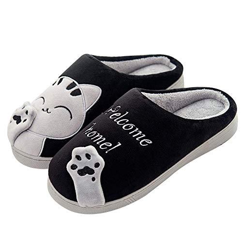 Sixspace Zapatillas de estar por casa gato para mujer Invierno Interior Caliente Suave Antideslizante Slippers hombre