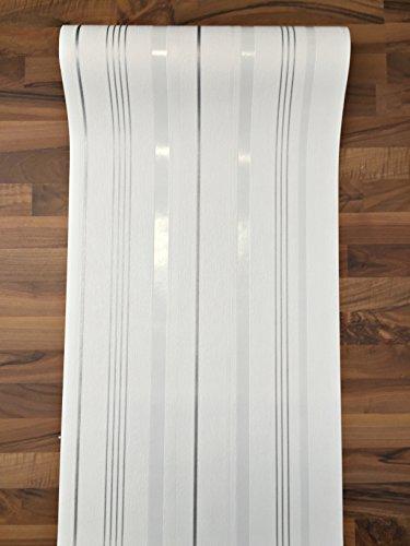 Vlies Tapete Rasch home style weiß silber grau streifen floral Putz Struktur (Streifen 420302)