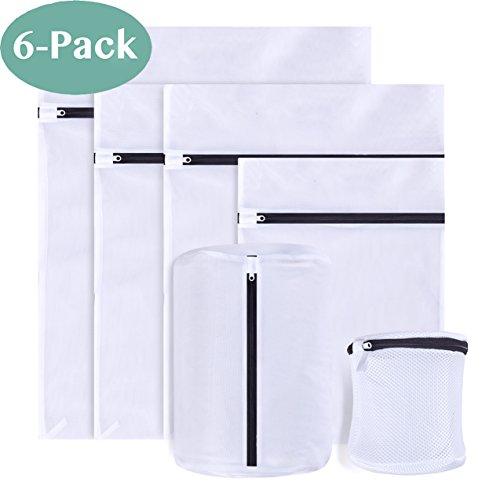6 Stück Wäschenetz für Waschmaschine, Unimi Wäschesack Baumwolle mit Formgedächtnis Wäschebeutel aus Netzstoff Set mit Reißverschluss für empfindliche Wäsche Waschmaschine, Trockner, BHs (6 set)