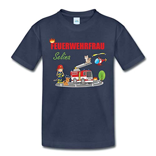 T-Shirt mit eigenem Namen für Babys Kleinkinder Kinder Kindergarten Schulkind Kindershirt Sommershirt Feuerwehr Feuerwehrfrau (106-116)