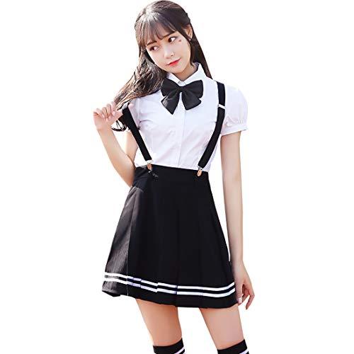 Rock-star-jumpsuit (HugAzure Japanischen Anime Kleidung Kostüm Klassische Navy Matrosenanzug Sommer kurz Mädchen Schüler Schuluniformen Cosplay-01M)