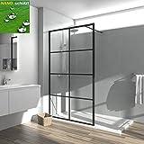 Meykoe Walk in Duschwand 120x200 cm Duschabtrennung Duschtrennwand Walk-in Dusche aus 8mm ESG-Sicherheitsglas mit Nano-Beschichtung Schwarz Karo Sprossen Rahmen