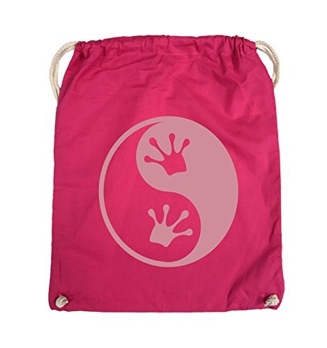 Comedy Bags - YIN YANG - FROSCH - Turnbeutel - 37x46cm - Farbe: Schwarz / Silber Pink / Rosa