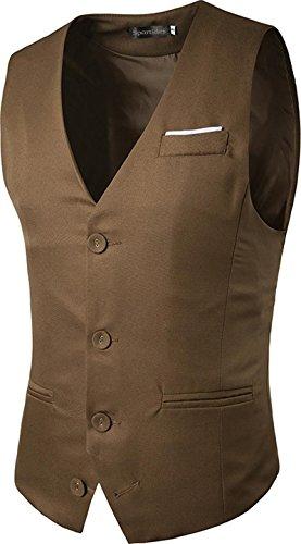 Sportides Herren Waistcoat Gilet Business Leisure Gentleman Vest Suits Blazer JZA005 JZA019_Khaki