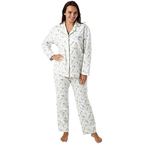 Señoras 100% algodón terreno Wincey pijama–colores: crema/rosa y crema/azul tamaños: