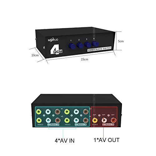 Duttek 4-Port AV-Schalter Cinch-Umschalter 4 In 1 Out Composite Video L / R Audio-Auswahlbox für DVD STB Spielkonsolen (Audio Video Switch)