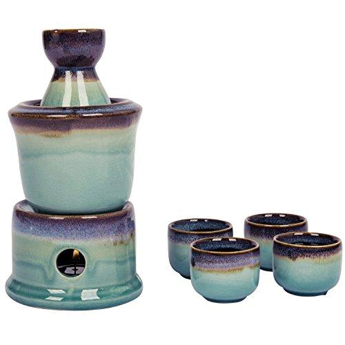 Japanischen Stil, Keramik Sake Servieren Geschenk Set mit Stövchen, 7pcs Casual S violett Sake-becher-set