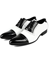 Wolven Handmade Black And White Leather Wedding Shoes With TPR Black Sole