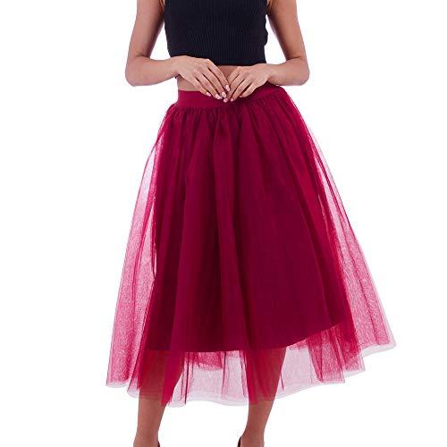Kostüm Schaf Bad - VEMOW Tutu Elegante Damenrock Tüllrock Plus Size Layer Mesh A-Linie Elastischer Bund Tüll Prom Prinzessin Midi Dance Plissee Prinzessin Mesh Bubble Rock(Rot, Freie Größe)
