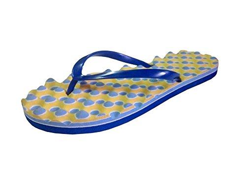Unispeed Women Foot Massage + Accupressure Blue EVA Flipflops - 6 UK