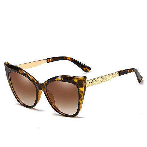 Polarisierte stilvolle Sonnenbrille mit Mental Polished Golden Frame UV400 Schutz Vintage Retro Sonnenbrille Für Männer Frauen Mädchen Multi Farben Sonnenbrillen und flacher Spiegel ( Farbe : Braun )
