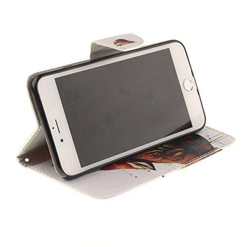 """Cuir PU Portefeuille Coque Case pour Apple iPhone 7 Plus 5.5"""", Poids léger, Folio Rabat Style Soutien / Carte Titulaire Fonction, Joli Imprimé Peinture Image Style Étui de Protection - Windbell Blanc"""