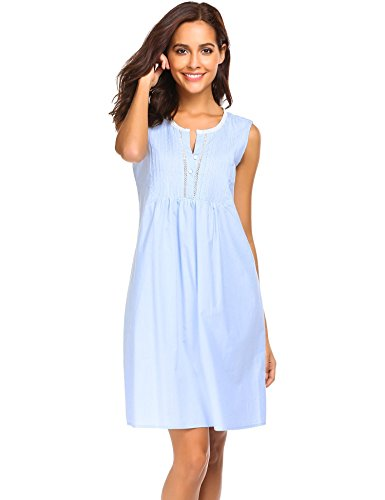 Keelied Damen Baumwolle Nachthemd Ärmelloses Nachtkleid Kurze Nachtwäsche Sommer Mini Kleid Weiß Blau Rosa (Bettdecken Und Blau Rosa)