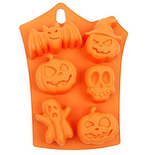 6 Halloween Kürbis Form weiche Silikon DIY Kuchen Schokolade Jelly Backen Form eistablett (Orange)