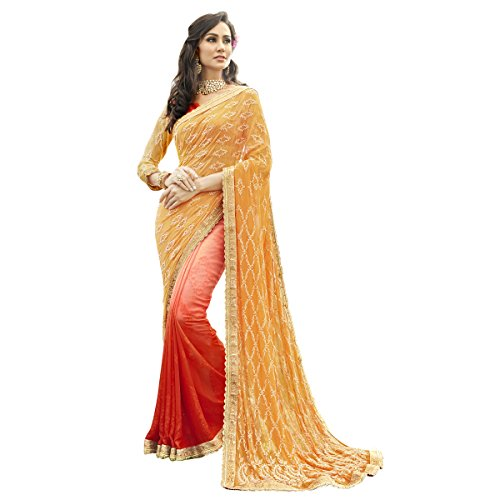 Triveni Georgette Beige Casual Wear Embroidered Traditional Sarees