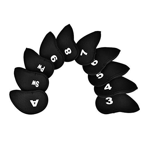 Golf Schlägerkopfhüllen, Golf Club Eisen Schlägerhaube Head Covers 10 Stücke Durable Neopren Golf Eisen Club Queue Kopf Schützen Abdeckung mit Zahlen Buchstaben(Black) -