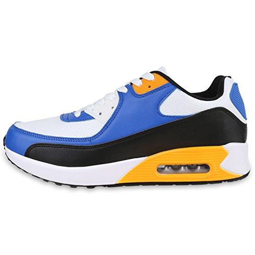 Stiefelparadies Herren Sportschuhe Leder-Optik Sneakers Velours Glitzer Metallic Runners Freizeitschuhe Schnürer Flandell Blue Yellow