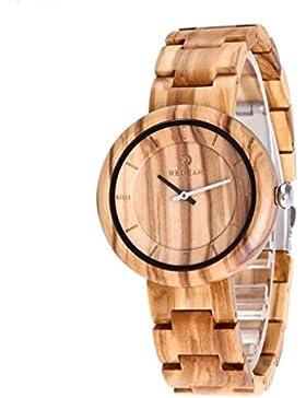 Redear Moda Unisex Holz Armbanduhr Nat¨¹rliches Olivenholz braun Mit Japanischer Quarzwerk Holzuhr Watch Olivholz
