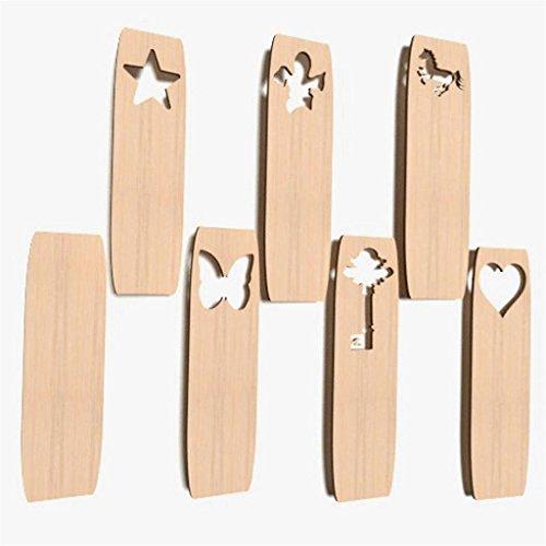 10x Lesezeichen blank Form Holz Basteln Dekoration Malen Aufhängen BOOKMARS -