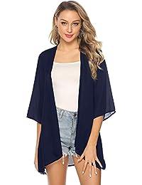 Abollria Damen Chiffon Kimono Cardigan Elegante Leichte Sommerjacke 3/4 Arm Casual Strand Cover Up für Urlaub