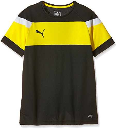 PUMA Kinder T-shirt Spirit II Training Jersey, black-cyber yellow, 164, 654655 37
