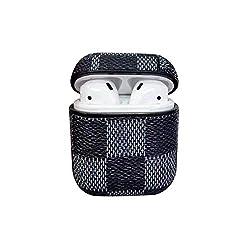 Airpods Case Keychain, Lybenny Leder AirPod Lade Schutzhülle für Airpods Kopfhörer Zubehör Großes Geschenk (Schwarz)