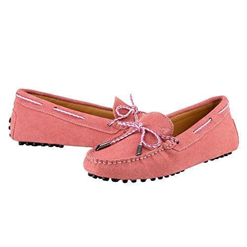Shenduo Classic, Mocassins femme daim - Loafers multicolore - Chaussures bateau & de ville confort D7051 Rose
