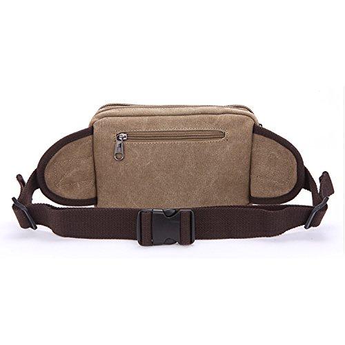 MeCooler Vintage Bauchtasche Herren Tasche Hüfttaschen Reisetaschen Handtasche Sport Bag Gürteltasche Sporttasche Canvas Geldbeutel Outdoor Brusttasche Trinkgürtel Beige