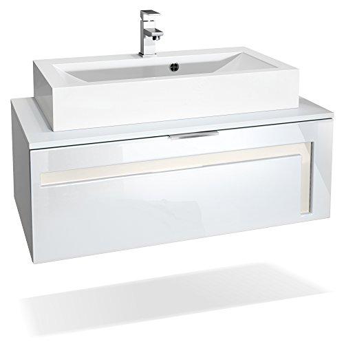 Perlmutt Waschbecken (Waschtisch Waschbecken Unterschrank Aloha V2, Korpus in Weiß matt / Fronten in Weiß Hochglanz mit Absetzungen in Creme Hochglanz, mit Aufsatzwaschbecken und Armatur (M1))