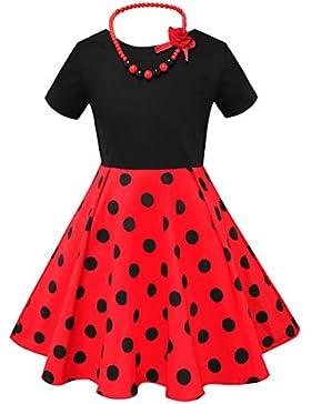 HBBMagic Rundhals Kurzarm Pure Baumwolle Retro Mädchen Kleid Audrey Hepburn 1950er Vintage Stil Kleid mit Halskette...