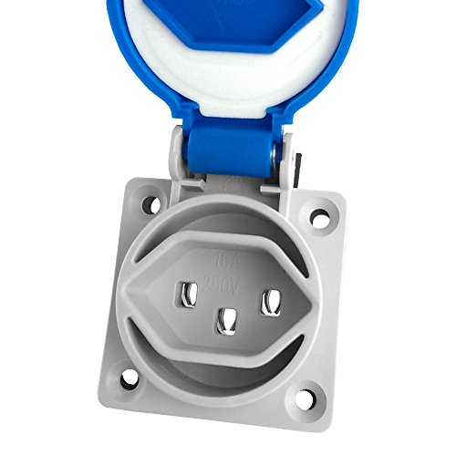 STECKDOSE 16A 250V ~ Fixture IP54Socket Outlet Grounded Plug Blue Swiss System 23Pce 6987