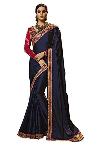 Kjp Villa Women\'s Rangoli Silk Blue Free Size Embroidery Saree With Blouse Pics sakshi-1144