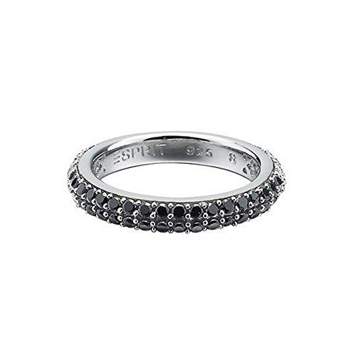 Esprit Damen-Ring elegance black 925 Sterlingsilber 54 Zirkonia schwarz Gr. 17 ESRG91667B170