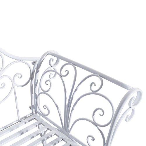 Outsunny Gartenbank, Metall, weiß, 134 x 51 x 89 cm, 840-053 - 6