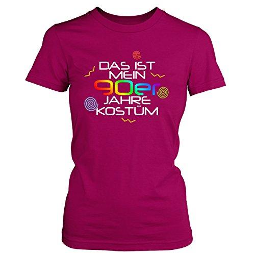 Shirtfun24 Damen DAS IST MEIN 90er JAHRE KOSTÜM Karneval Fasching T-Shirt, fuchsia pink, M (90er-jahre-kostüme)