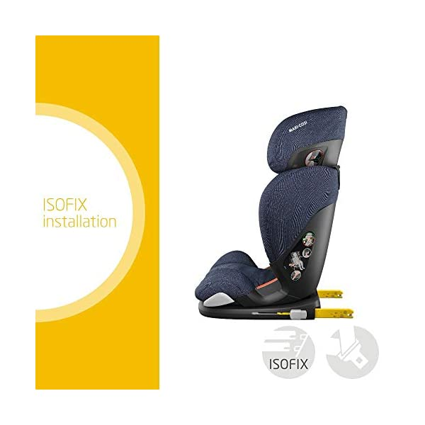 Maxi-Cosi RodiFix AirProtect Child Car Seat, ISOFIX Booster Seat, Extra Protection, 3.5-12 Years, 15-36 kg, Sparkling Blue Maxi-Cosi Outstanding side impact protection - with the combination of patented air protect technology Patented air protect technology in headrest - the risk of head and neck injuries are reduced up to 20% Quick and easy to buckle your child up with the 'easy-glide' system and clear belt routing 2