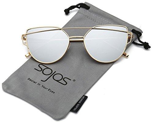 SOJOS Katzenauge Metall Rand Rahmen Damen Frau Mode Sonnenbrille Verspiegelt Linse Women Sunglasses SJ1001 mit Gold Rahmen/Silber (Kleidung Online Jahre 70er)