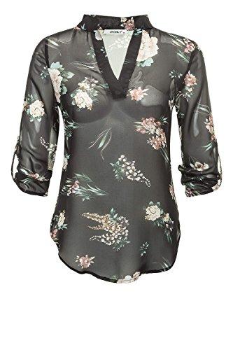 Hailys Damen Hemdbluse Damenbluse Leichte Bluse Langarmbluse Tunika Print Shirt