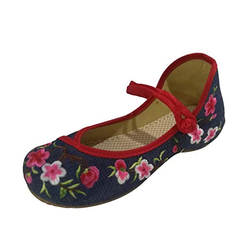rühlings- und Sommer pfirsichblüten Schnalle nationaler Wind stickte Stoffschuhe Chinesische Traditionelle Peking-Stil Schuhe Kung Fu Tai Chi Schuhe Gummisohle ()