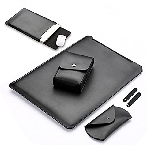 Laptop Sleeve Bag for Apple Macbook Air - DAODER Leather Cover Case For MacBook Air & MacBook Pro with Retina Display 13.3 inch Briefcase including Charger Bag, Mouse Bag, Cable Organizer