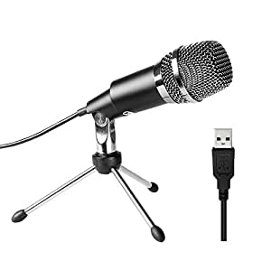 PC microphone,Fifine Plug &Play Home Studio Cardioid USB Condenser Microphone for Skype, Recordings for YouTube, Google Voice Search, Games(Windows/Mac)-K668