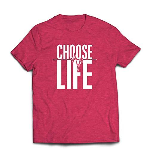 lepni.me Männer T-Shirt Wählen Sie das Leben Herzschlag, Anti-Abtreibung politischen Protest, Christian Zitat (Large Heidekraut Rot Mehrfarben)