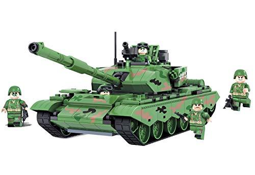 Modbrix pietre di costruzione nato carro armato leopard 2, con 4mini figura soldati, gioco di costruzioni 492pezzi, 28cm