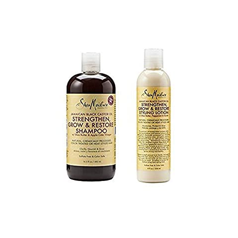 Combo: Shea Moisture Jamaican Black Castor Oil Strengthen, Grow & Restore Shampoo 16.3oz + Styling Lotion 8oz by Shea Moisture